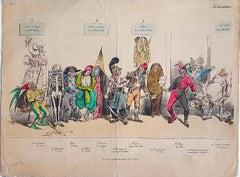 Le Caricature - Hand-Colored Lithograph by Jean-Jacques Grandville - 1831