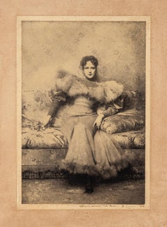 Seated woman - Original b/w Photograph by Carlo Farino - 1904