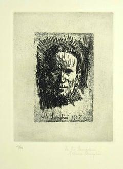 Mother's Portrait - Original Etching by Pio Semeghini - 1964