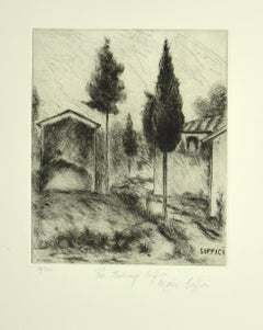 Poggio a Caiano - Original Etching and Drypoint by A. Soffici - 1964