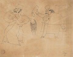 Le Justicier (Monte-Cristo) - Original China Ink Drawing by Jean Cocteau - 1920s