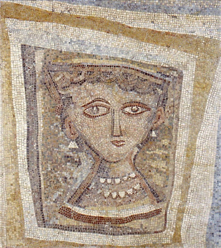 Bust of Woman with Pearl Necklace - Original Mosaic - 1947 - Art by Massimo Campigli