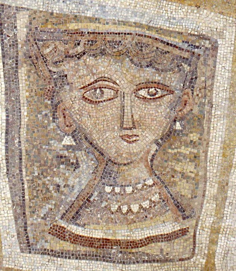 Bust of Woman with Pearl Necklace - Original Mosaic - 1947 - Contemporary Art by Massimo Campigli