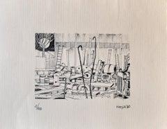 Workshop - Original Lithograph by Giuseppe Megna - 1980 ca.