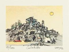 Calabritto - Original Lithograph on Paper by Giuseppe Megna - 1980 ca.