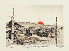 S. Angelo dei Lombardi - Original Lithograph by Giuseppe Megna - 1980 ca