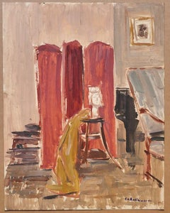 Interior of Room - Oil Painting on Cardboard by Caroline Hill - 20th Century