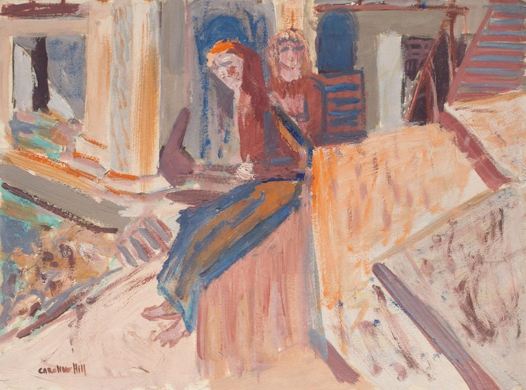 Figures is an original painting in oil on cardboard realized by Caroline Hill (1935-1983), Hand-signed on the lower left.  In very good condition.  The artwork represents two seated figures beside a pool, through vivid and bright colors, created by