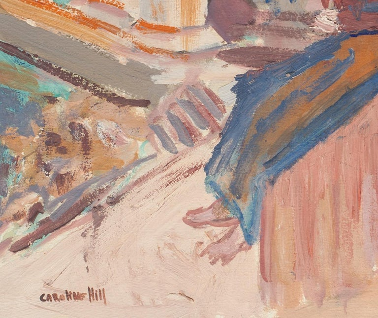 Figures  - Oil Painting on Cardboard by Caroline Hill - Mid 20th Century 1