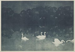 Swans - Lithography on Paper by Francis Jourdain - Early 20th Century