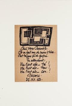 Poetical Composition - Original Pen on Cardboard by Léon Gischia - 20th Century