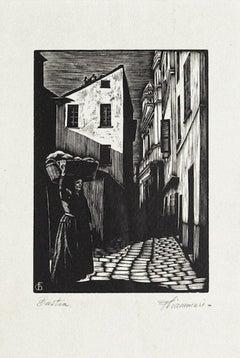 Beast - Original Woodcut by F. Chiammari - 1960 ca.