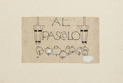 Al Pascolo - Original China Ink by Bruno Angoletta - Early 20th Century