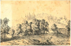 Rome, The Countryside- Original China Ink Drawing by Jan Pieter Verdussen - 1742