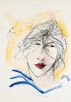 Woman's Face - Original Lithography by Mario Ceriacca - Late 20th Century