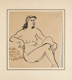 Nude - Original Pen on Ivory Paper by Fausto Ghia - 1955