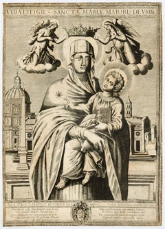 Madonna with Child - Original Etching by Battista Panzeri - 1585