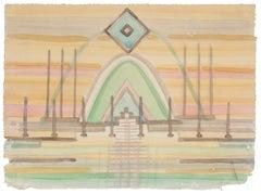 Surrealistic Interior - Original Watercolor on Paper by Jean Delpech - 1960s