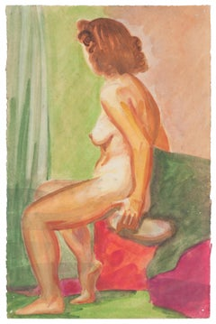 Nude - Original Watercolor on Paper by Jean Delpech - 1960s