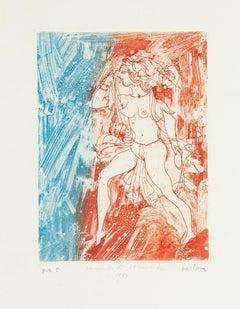 Atlantic Girl - Original Etching by Sergio Barletta - 1980s