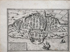 Ancient Map of Calaris - Original Etching by George Braun - Late 16th Century