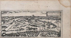 Map of Ingolstadt  - Original Etching by George Braun- Late 16th Century