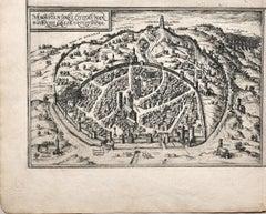 Map of Nemavsus - Original Etching by George Braun - Late 16th Century