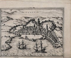 Map of Safi - Original Etching by George Braun - Late 16th Century