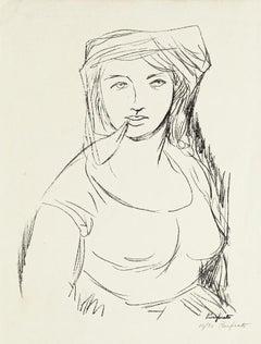 Woman - Original Lithograph by Domenico Purificato - 1950s