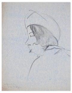 Portrait of Man - Original Charcoal Drawing by Flor David - 1950s