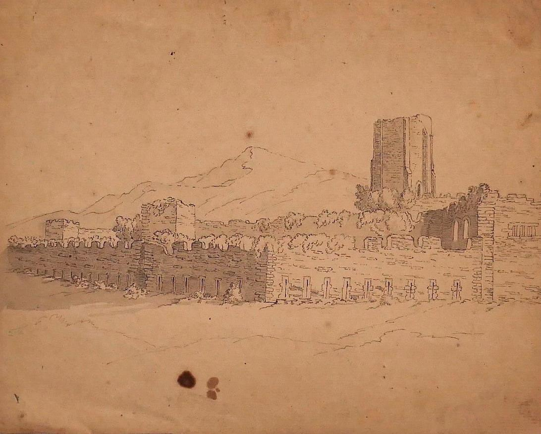 Castle - Original Pen and Water Color on Paper - 18th Century
