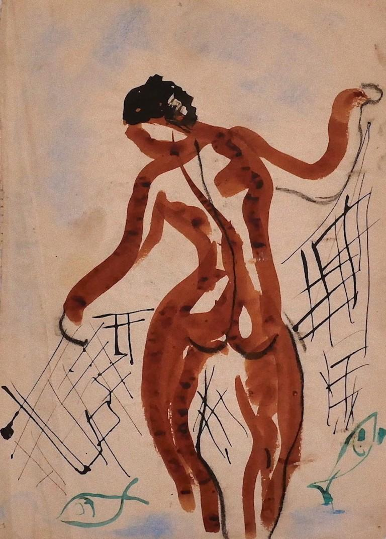 Dancer - Original China Ink and Watercolor on Paper - 20th Century