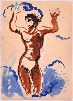 Dancer - Original China Ink and Water Color on Paper - 20th Century