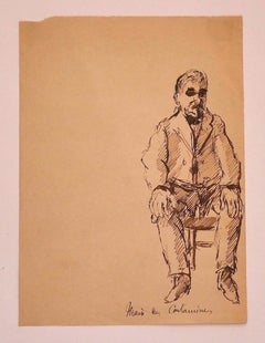 Portrait - Original Ink Drawing on Paper - 1920s