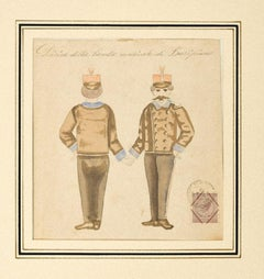 Musicians - Original Watercolor on Paper - 19th Century