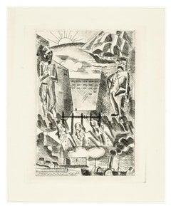 Landscape - Original Etching by Marcel Stobbaert - 1930