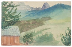 Landscape - Original Watercolor on Paper by Jean Delpech - 1950s