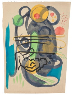 Abstract Composition - Tempera and Watercolor on Paper by Jean Delpech - 1960s