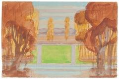 Landscape - Watercolor on Paper by Jean Delpech - 1940s