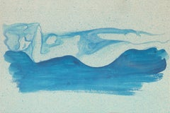 Blue Nude - Original Watercolor on Paper by Jean Delpech - 1960s
