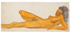 Nude - Original Watercolor on Paper by Jean Delpech - 1960s