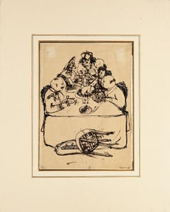 Last Supper - Original Ink Drawing on Paper by Renzo Vespignani - 1945