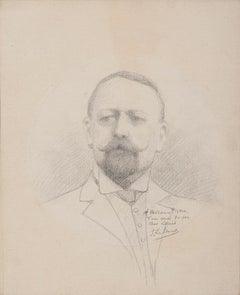 Portrait of Man - Original Drawing in Pencil - Late 19th Century