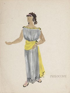 Costume  - Original Tempera and Watercolor on Paper by Alkis Matheos - 1950s