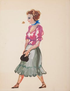 Walking Women - Original Tempera and Watercolor on Paper by Alkis Matheos -1950s