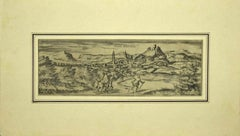 Malaga - Original Etching on Paper by George Braun - Early 17th Century