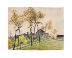 Landscape - Original watercolor by A.R. Brudieux - 1945
