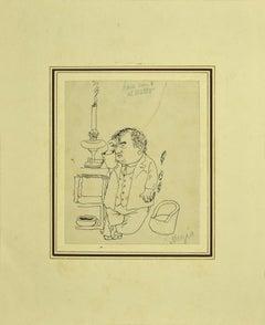 Figure - Original Pen on Paper by Alfredo Mezio - 1930