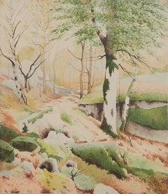 Trees - Original Watercolor - 1950s