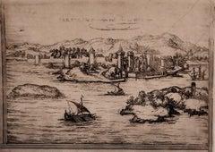Parnes - Original Etching by George Braun - Late 16th Century